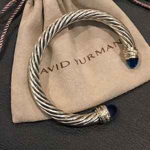 Auth David Yurman 7mm Blue Topaz/Dia Bracelet